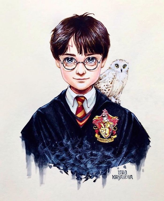 harry potter coloured portrait, hedwig on his shoulder, easy things to draw when your bored, gryffindor robe