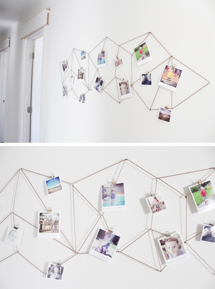 metal geometrical design, pinned photos to it, girl room decor ideas, hanging on a white wall