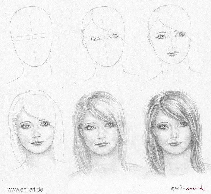 easy drawings step by step, how to draw a female face, diy tutorial, black and white, pencil sketch