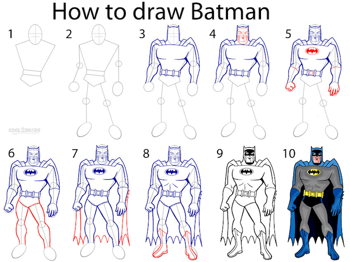how to draw batman, easy things to draw when your bored, step by step, diy tutorial