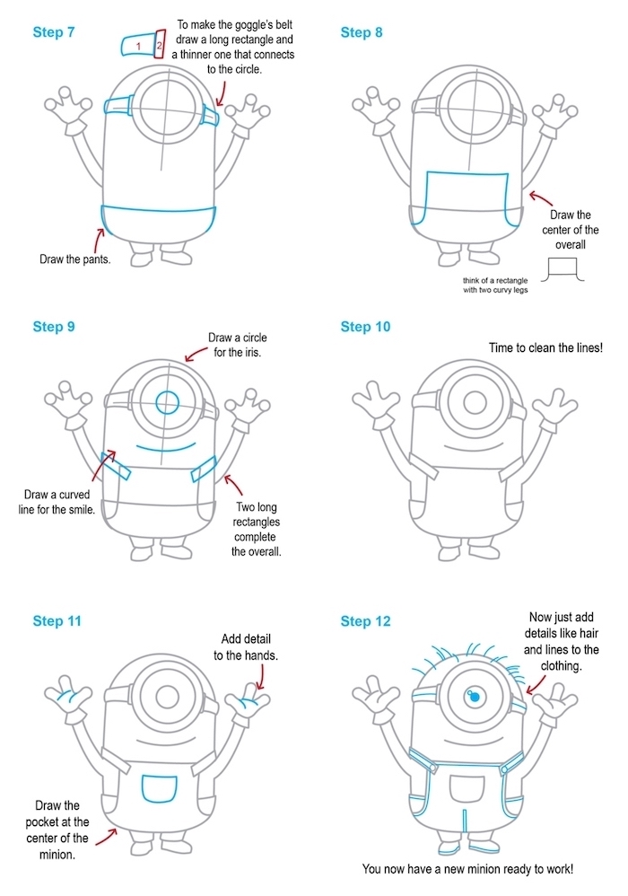 easy drawing tutorials, how to draw a minion, step by step, diy tutorial