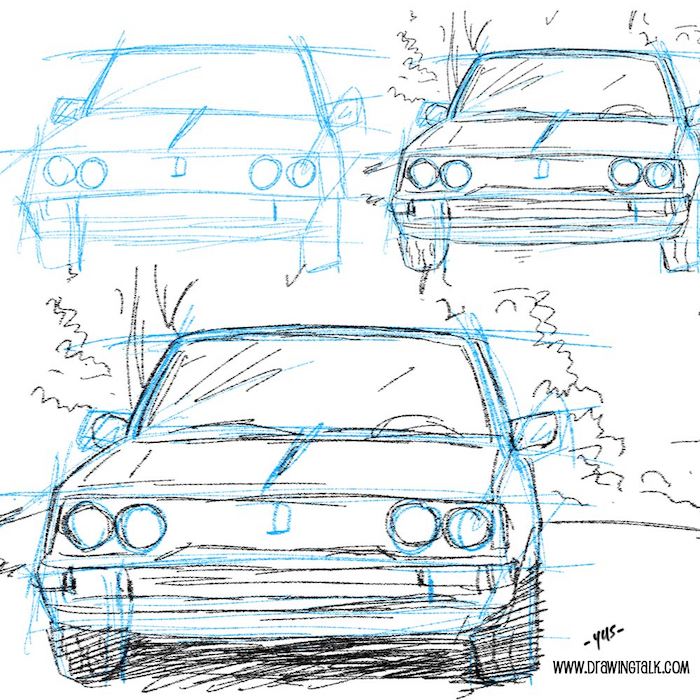 vintage car, easy drawing tutorials, step by step, diy tutorial, blue black and white, pencil sketch