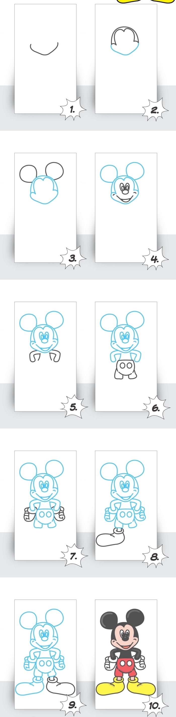 how to draw cool stuff, how to draw mickey mouse, step by step, diy tutorial