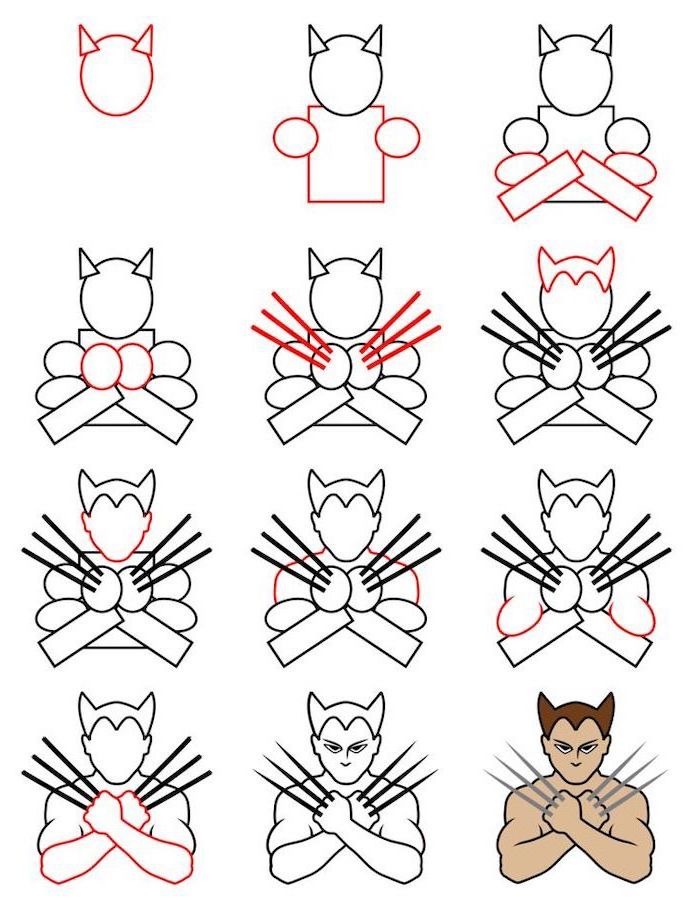 how to draw wolverine, fun and easy things to draw, step by step, diy tutorial