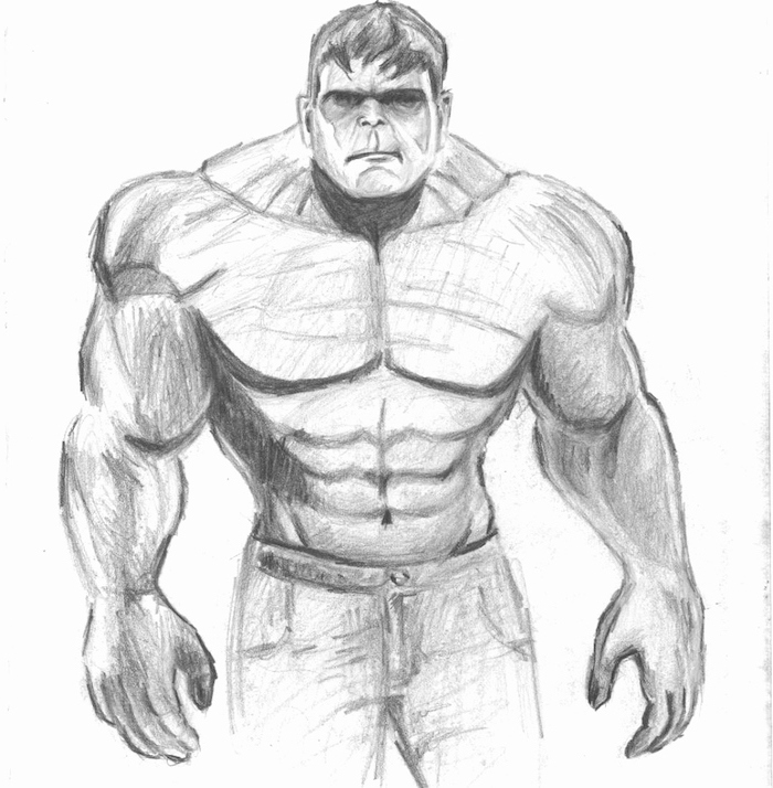 hulk inspired, black and white, pencil sketch, how to draw cool things