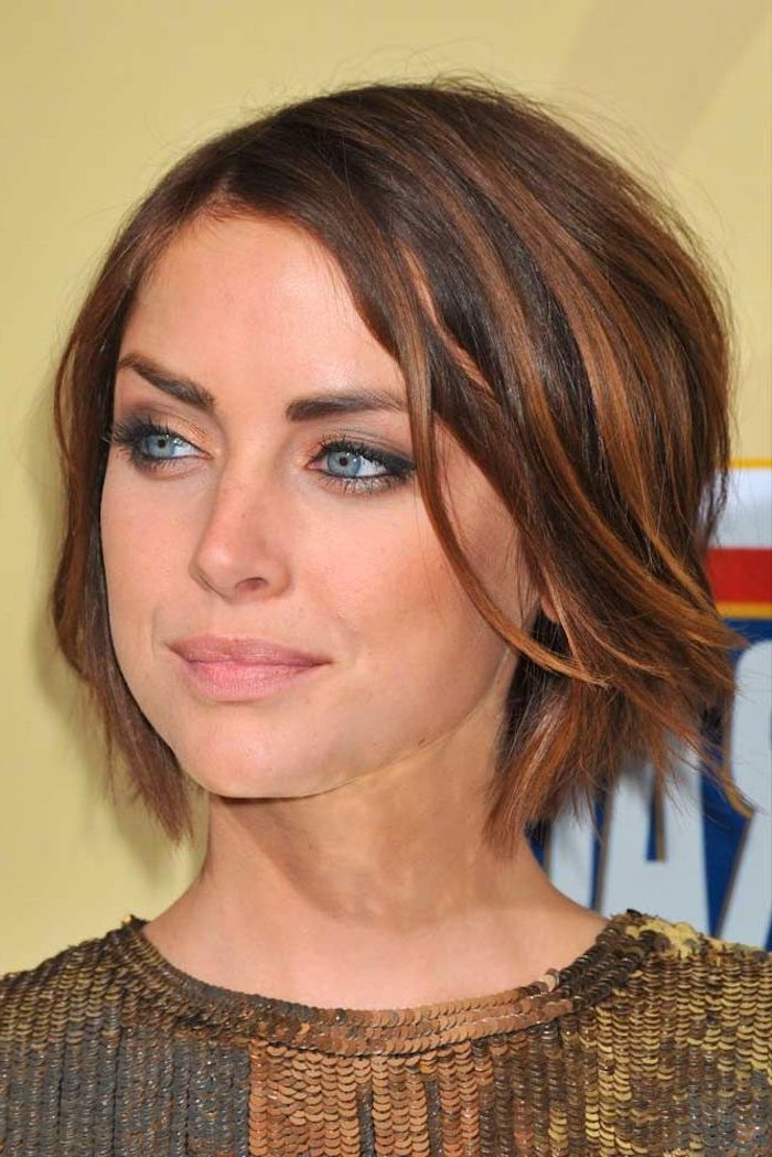 gold sequinned top, brown hair, short hairstyles with bangs, jessica stroup