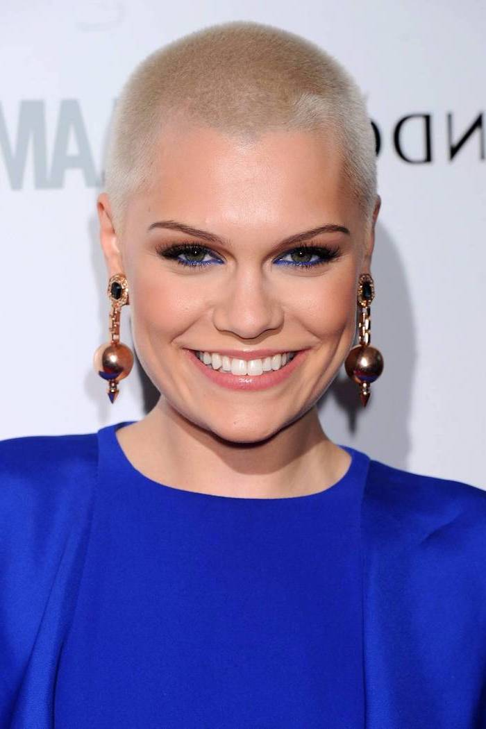 blue dress, short haircuts for women, jessie j, buzz cut, blonde hair, large earrings