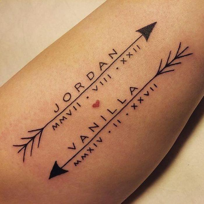 two arrows, with names, date in roman numerals, forearm tattoo