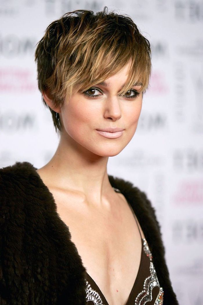 keira knightley, pixie cut, short hairstyles with bangs, black fluffy cardigan