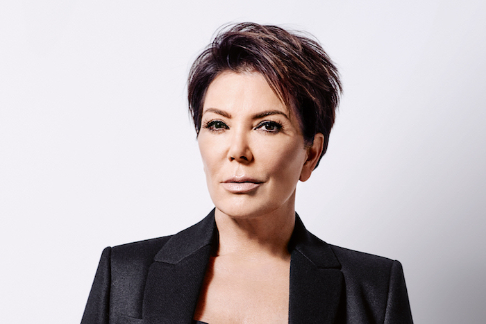 kris jenner, pixie cut, brown hair, short hairstyles with bangs, black blazer, white background