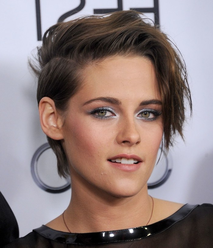 hairdos for short hair, brown hair, kristen stewart, black lace top