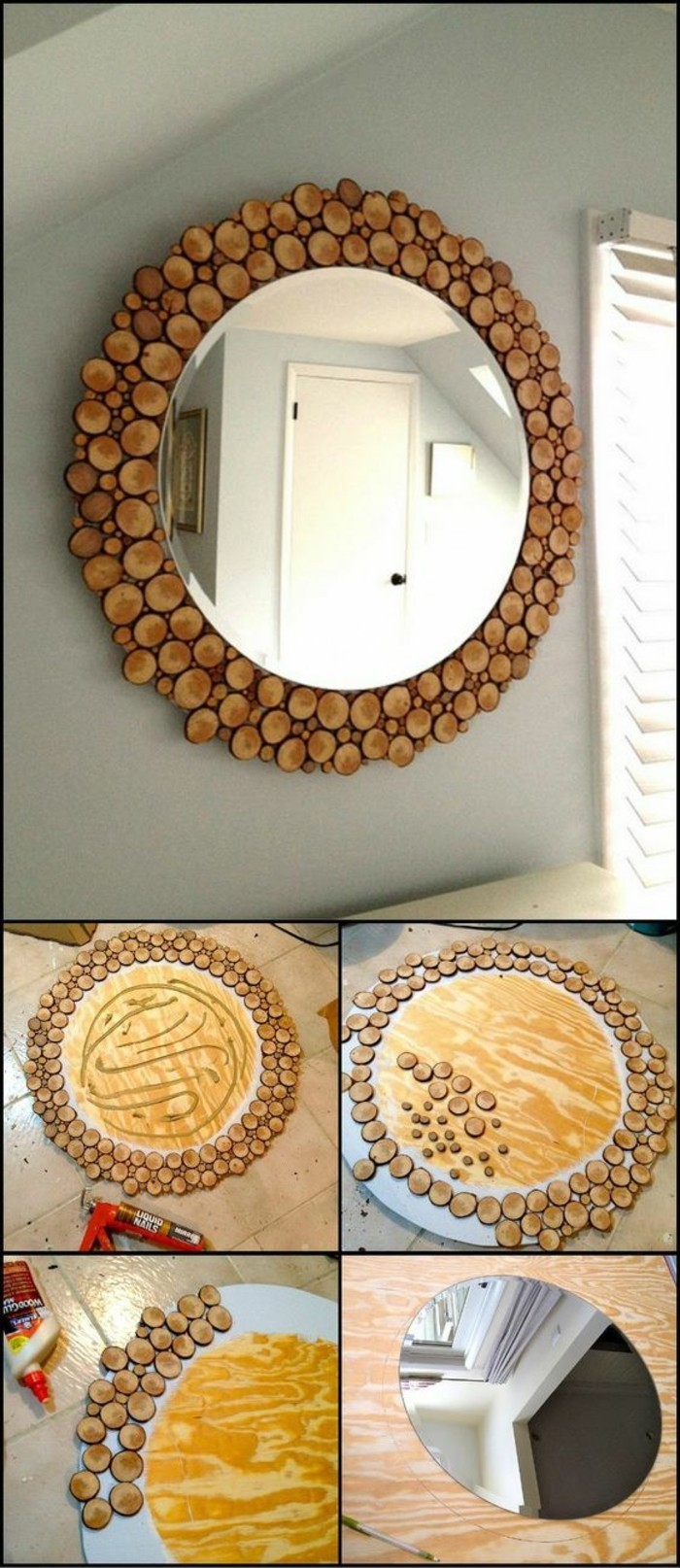 large round window, wood pieces, glued together, forming a mirror frame, big wall decor, diy tutorial