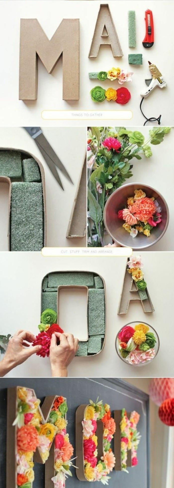 carton letters, filled with faux flowers, stuck in styrofoam, big wall decor, step by step, diy tutorial
