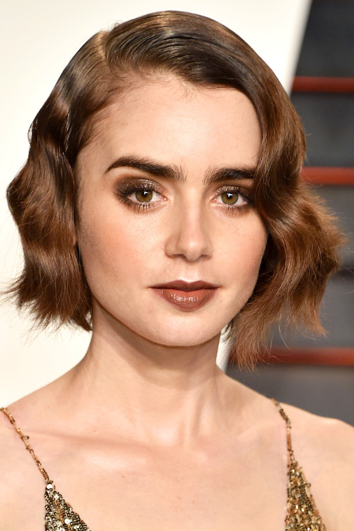 brown hair, hairdos for short hair, gold sequinned dress, lilly collins