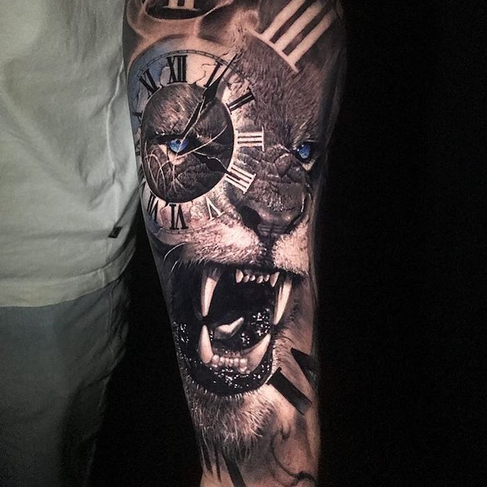 roaring lion, with blue eyes and clock side arm tattoos, black background