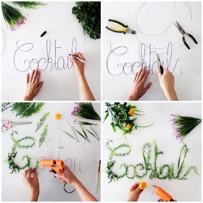 green foliage sign, step by step, diy tutorial, living room wall decor ideas, greenery and flowers