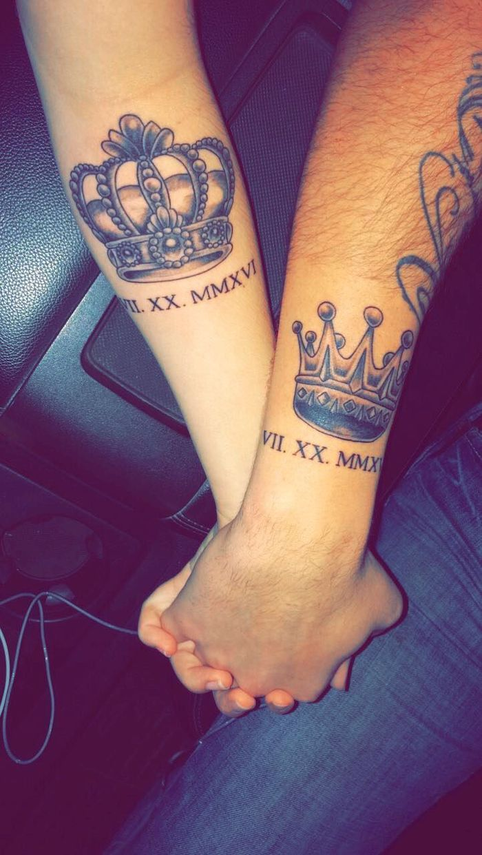 king and queen, couples matching tattoos, holding hands, date in roman numerals