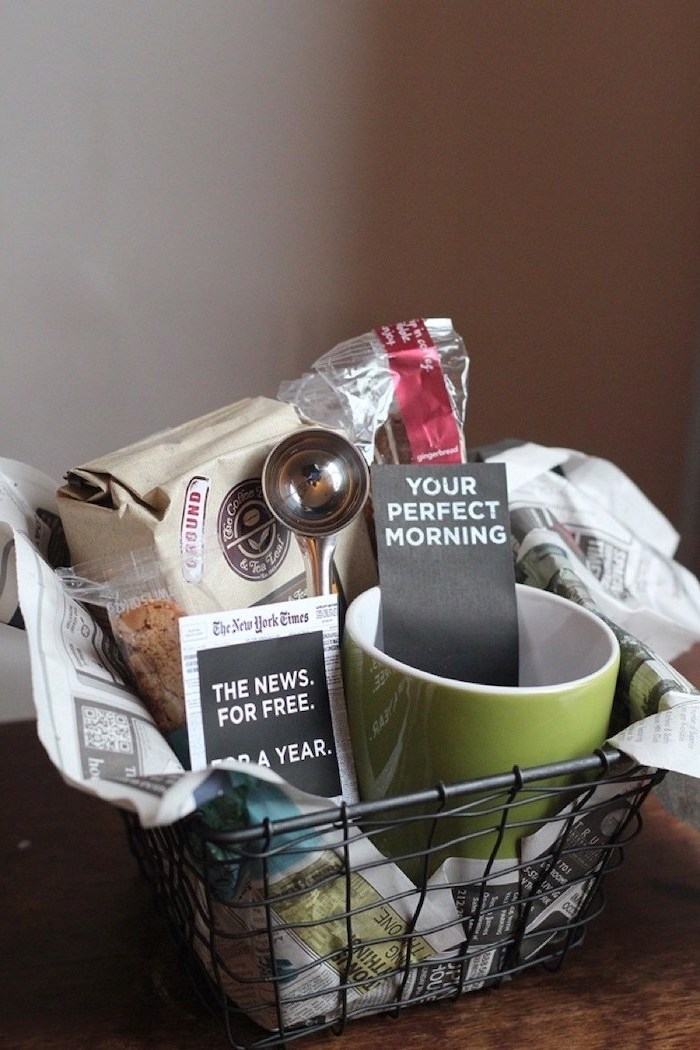 diy gift basket, unique housewarming gifts, coffee beans, coffee mug, the new york times voucher