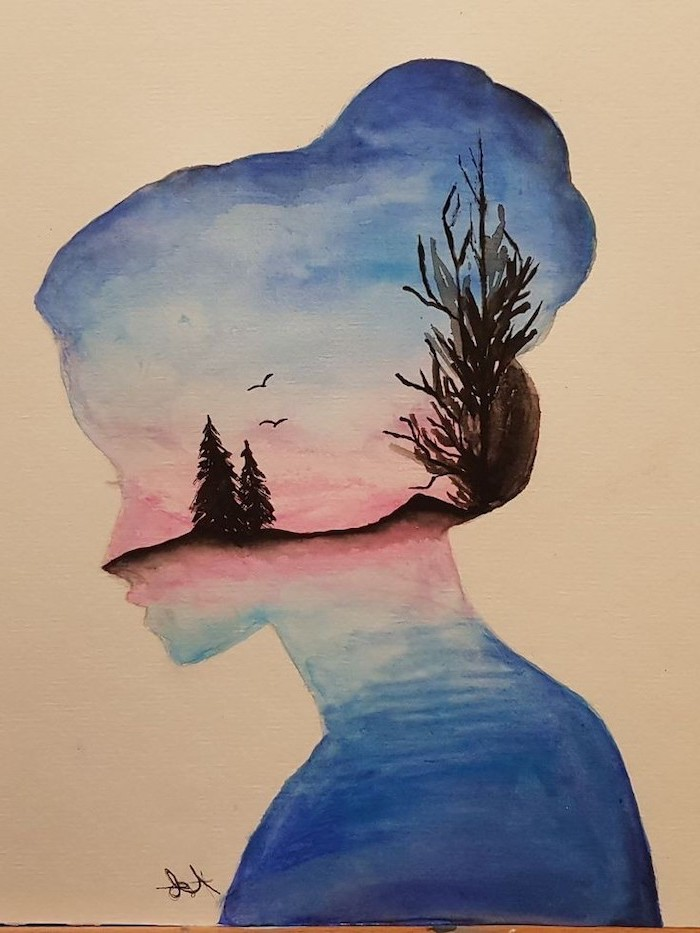 things to draw when your bored, nature landscape, female silhouette, watercolour painting