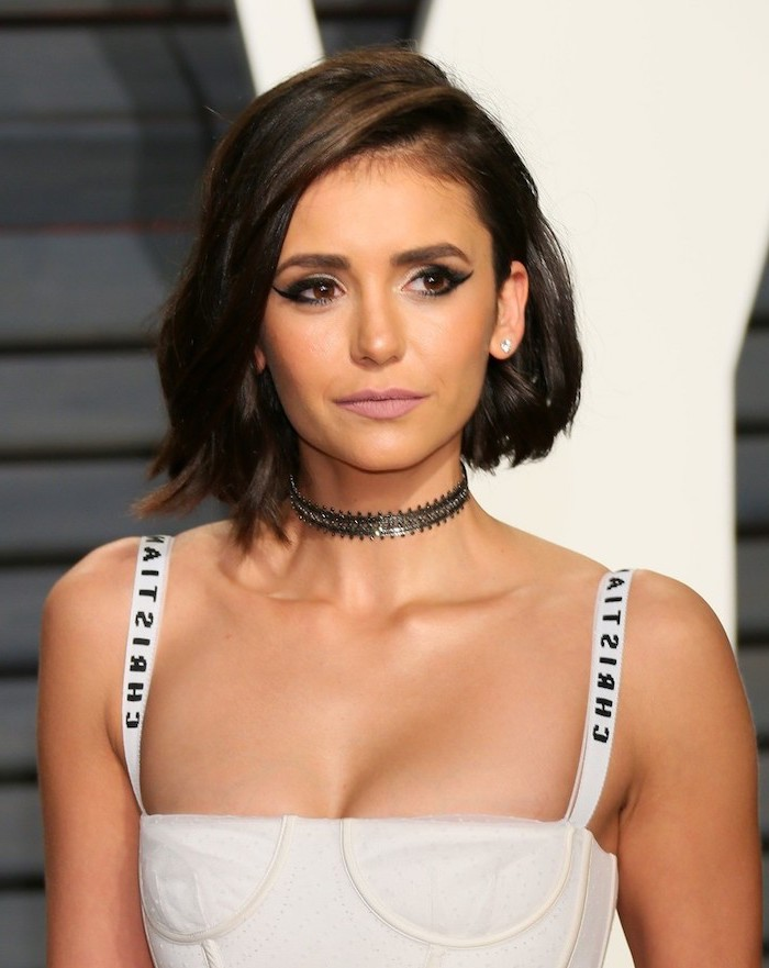 short to mid length hairstyles, white bustier, nina dobrev, brown hair, black choker