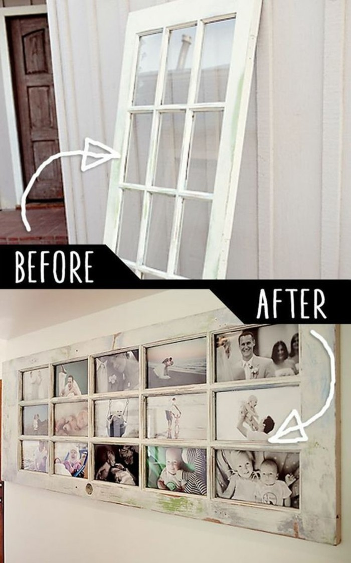 before and after photos, old door, turned into a photo frame, cute wall decor, many photos, white frame