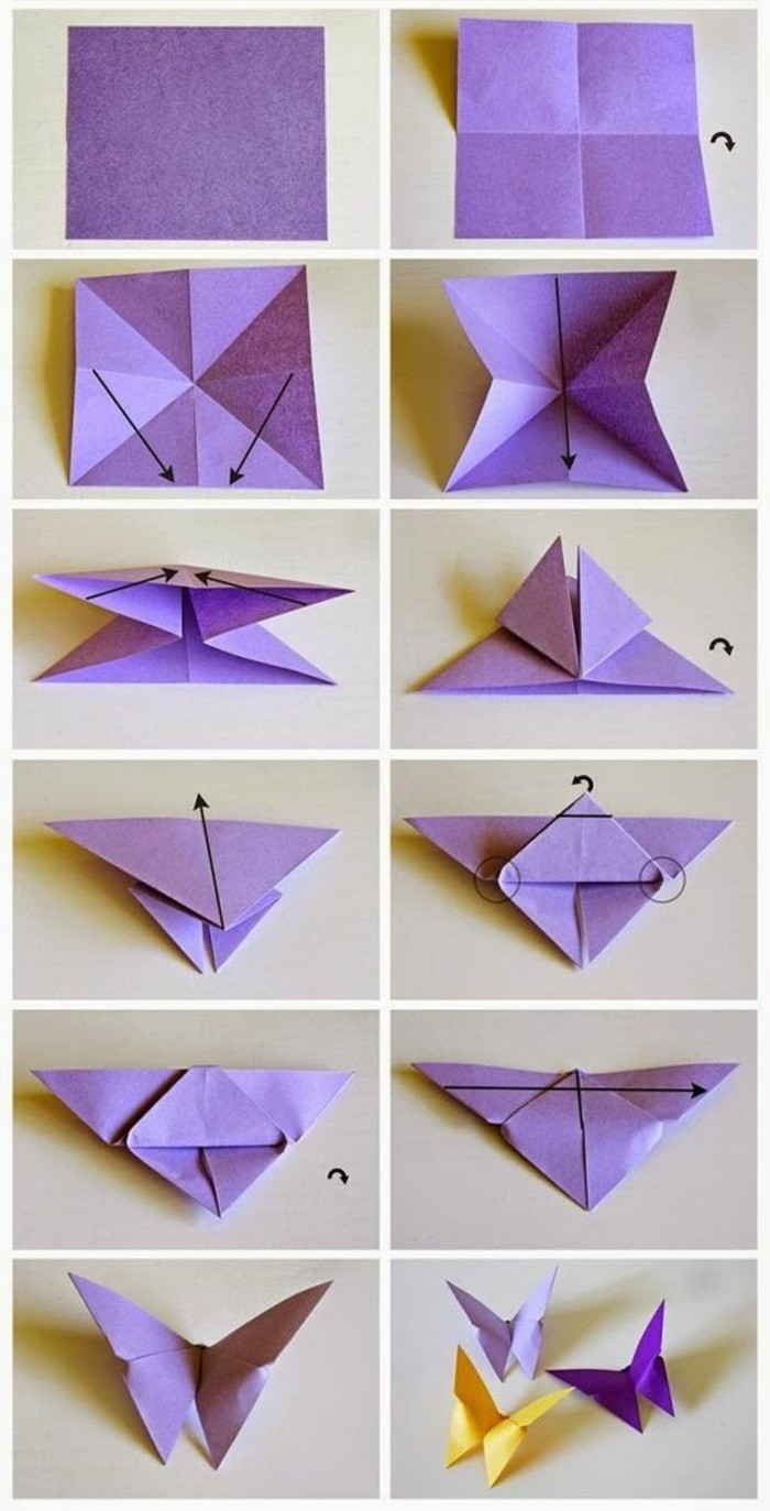 origami butterflies, purple and yellow, cute wall decor, step by step, diy tutorial, how to fold origami