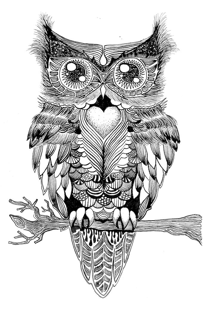 owl standing on a tree branch, things to draw when your bored, black and white drawing