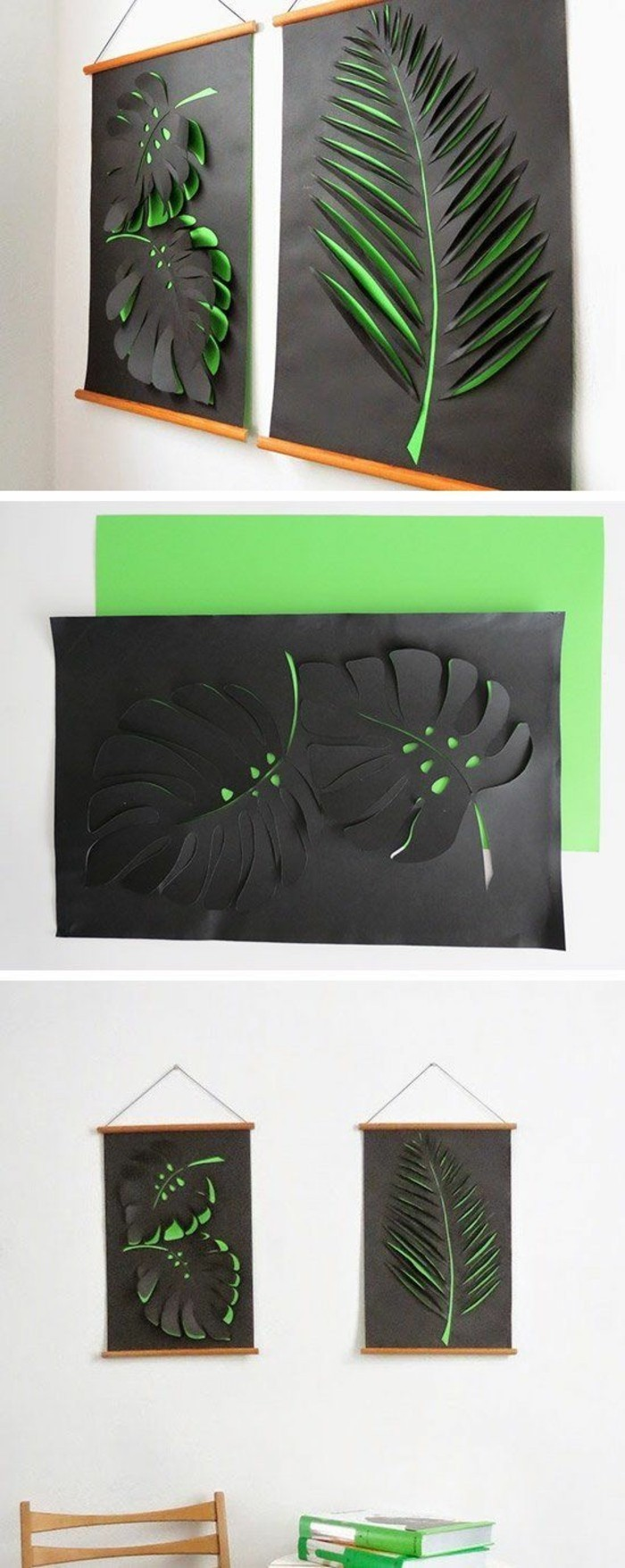 diy art projects, green an black paper, palm leaves, step by step, diy tutorial, hanging on a white wall