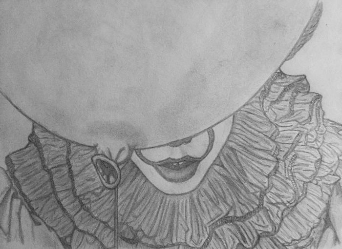 it movie inspired, black and white, pencil sketch, easy sketches to draw, pennywise the clown