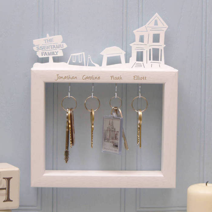 personalised key holder, great housewarming gifts, white frame, key chains