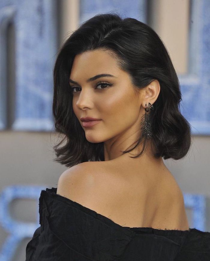 kendall jenner, black hair, black dress, short to mid length hairstyles