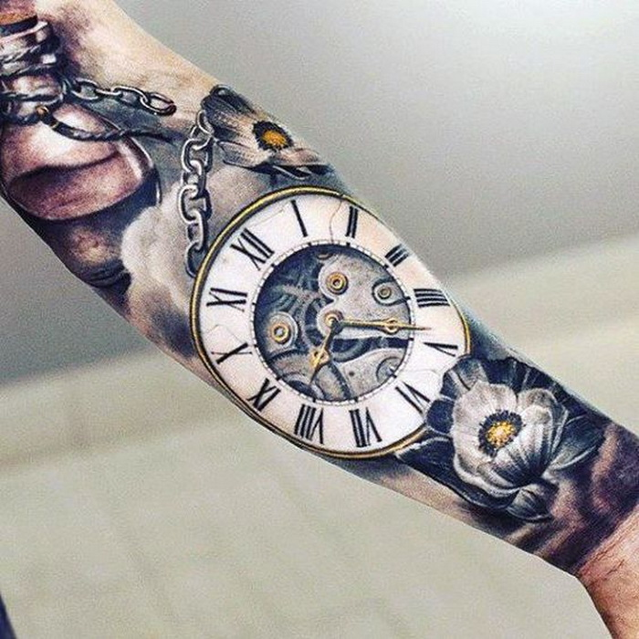 large forearm tattoo, with a clock and flowers, roman numerals translation, white tiled floor