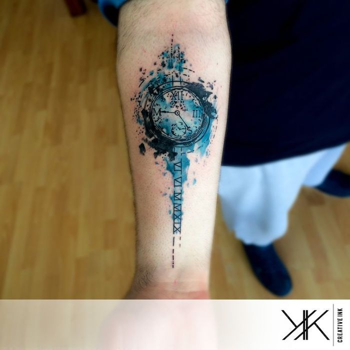 blue watercolour, clock forearm tattoo, roman numerals translation, wooden floor