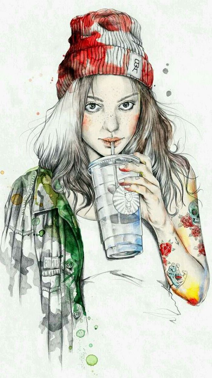 watercolour painting, easy sketches to draw, girl with a beanie, navy jacket, drinking from a cup