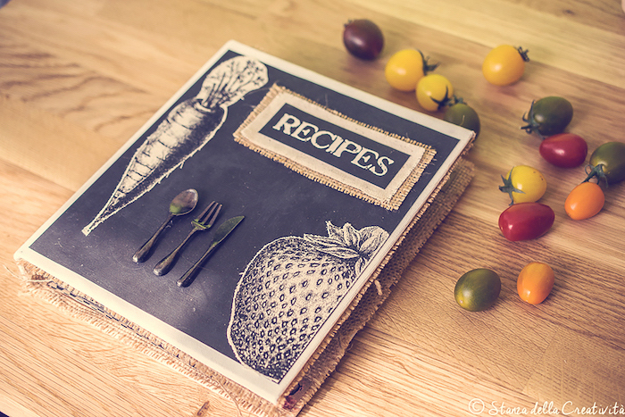 recipes book, cherry tomatoes around, housewarming gift ideas for couple, wooden countertop