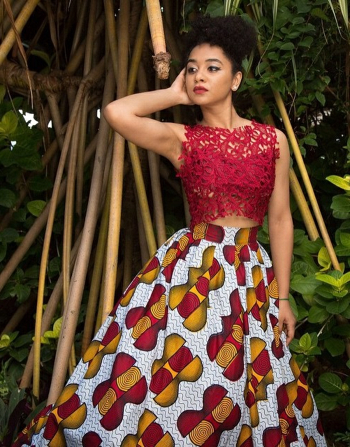 red lace top, long skirt, african formal dresses, black hair in a bun, bamboo trees