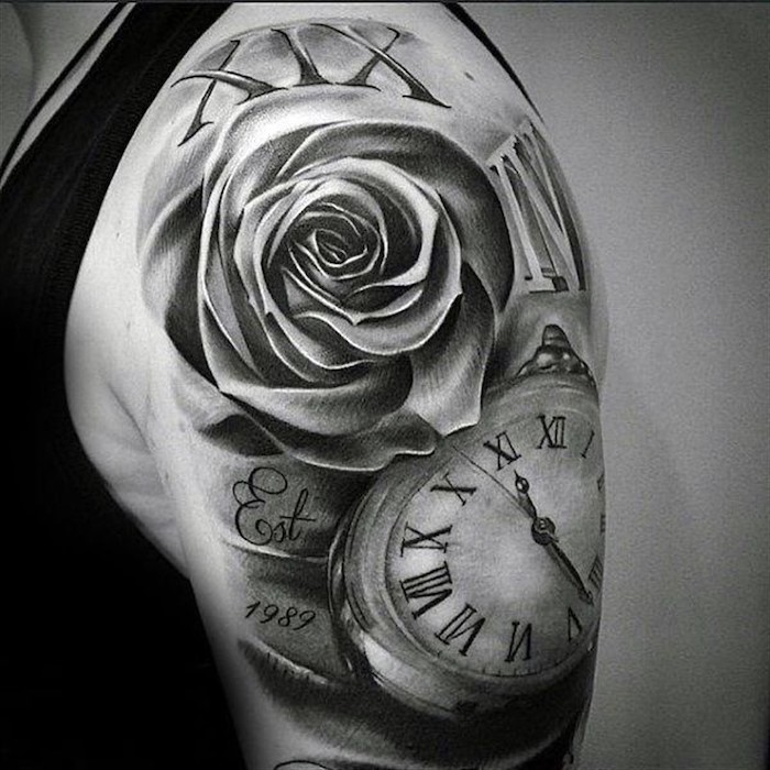 roses and a pocket watch, shoulder tattoo, roman numeral date tattoo, black top, white background
