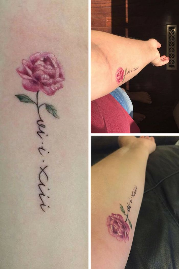 pink rose, forearm tattoo, roman numeral date tattoo, side by side photos