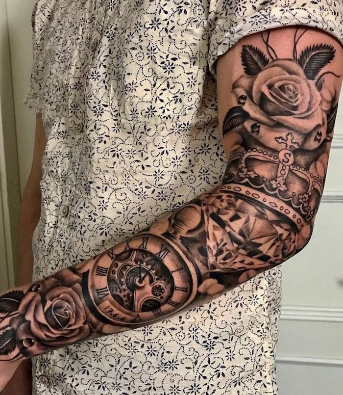 white floral shirt, roman numeral photos, sleeve tattoo, with a clock, roses and a crown