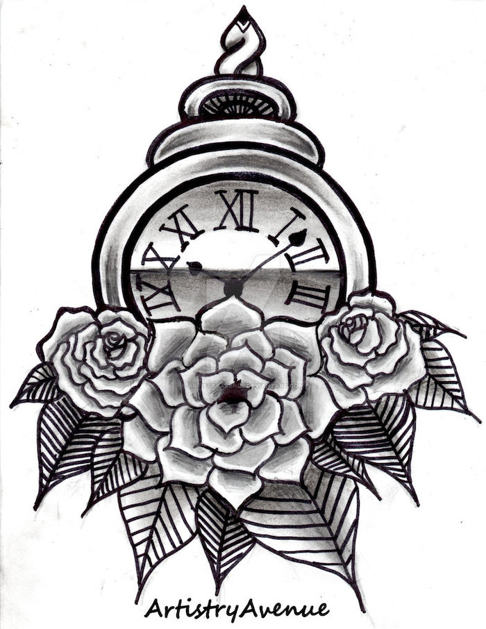 roman numeral tattoos on arm, black and white sketch, pocket watch and roses