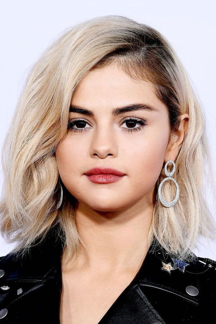 black leather jacket, blonde hair, selena gomez, celebrities with short hair