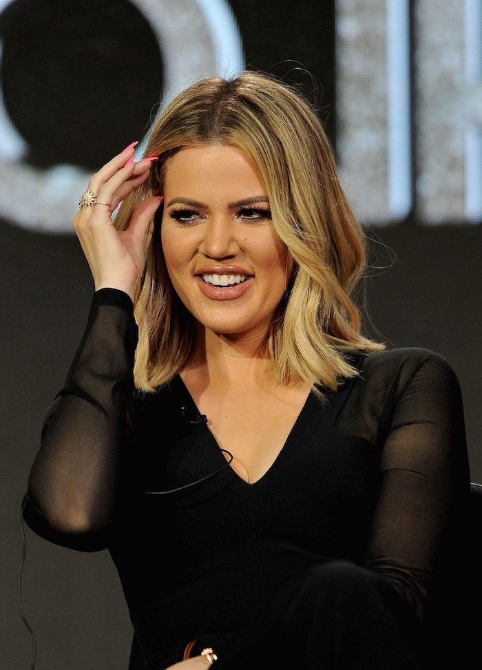 black top, blonde hair, cute short haircuts for girls, khloe kardashian, long pink nails
