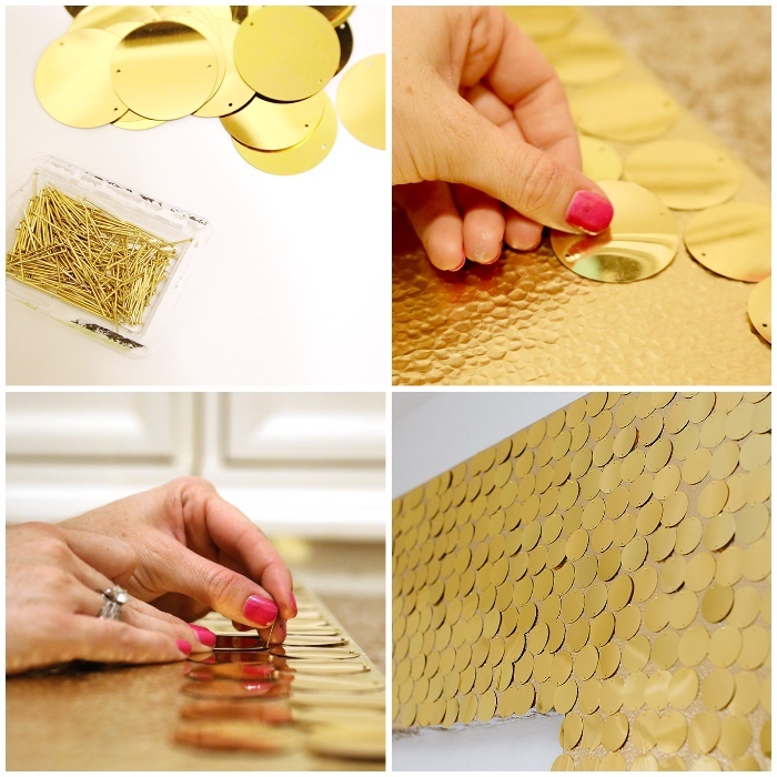 step by step, diy tutorial, gold sequins, pinned to a board, home wall decor, side by side pictures