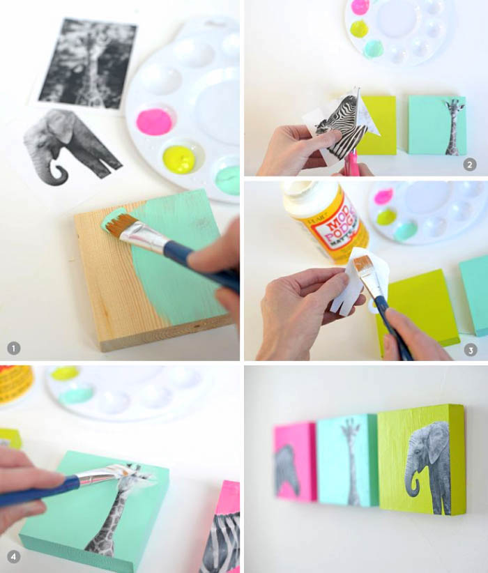 diy tutorial, step by step, girls wall decor, painted wooden blocks, glued animal photos on them