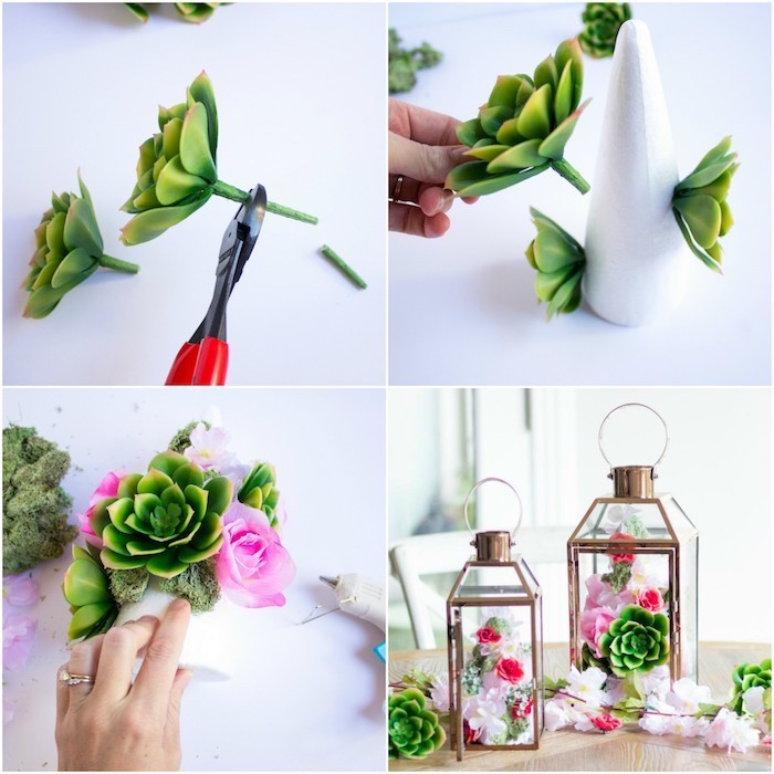 metal lantern, flowers and succulents inside, funny housewarming gifts, step by step, diy tutorial