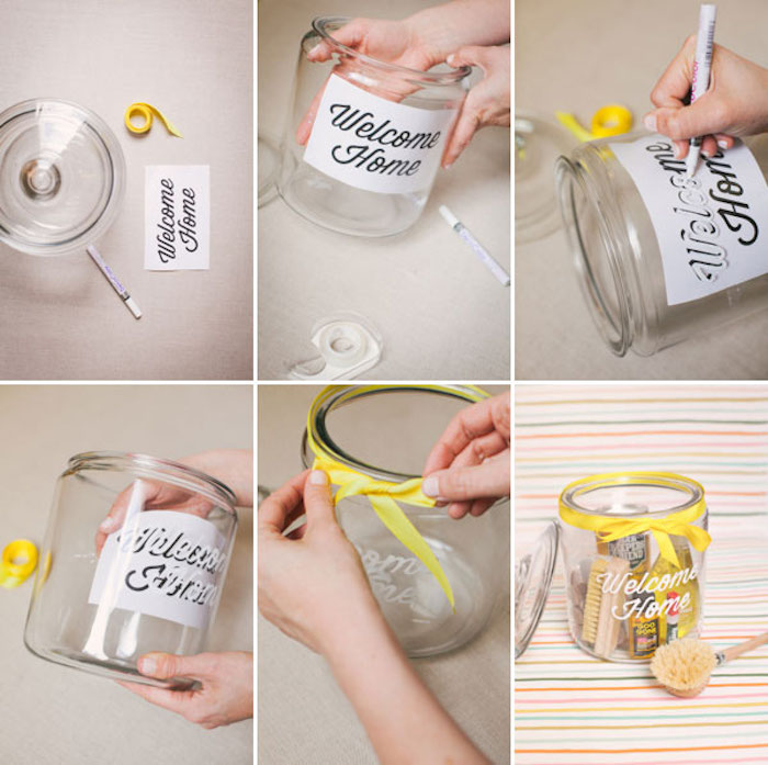 good housewarming gifts, large cookie jar, welcome home sign, yellow ribbon, diy tutorial, step by step