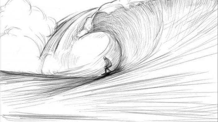 surfer surfing a large wave, how to draw easy things, black and white, pencil sketch