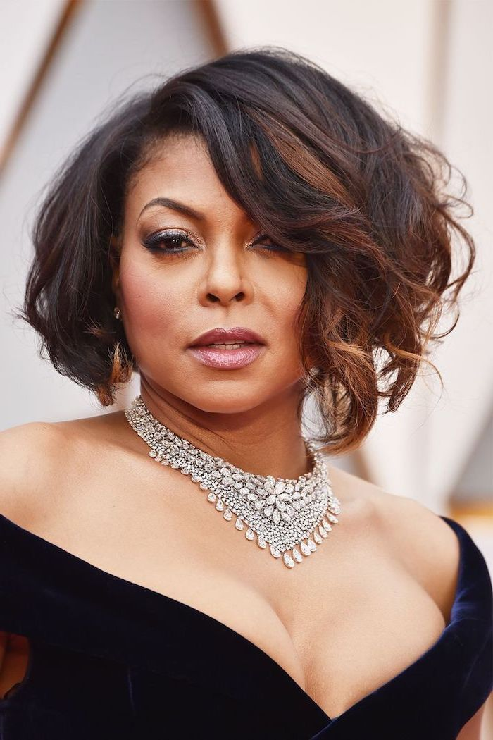 taraji p henson, blue velvet dress, short haircuts for girls, large necklace, brown hair
