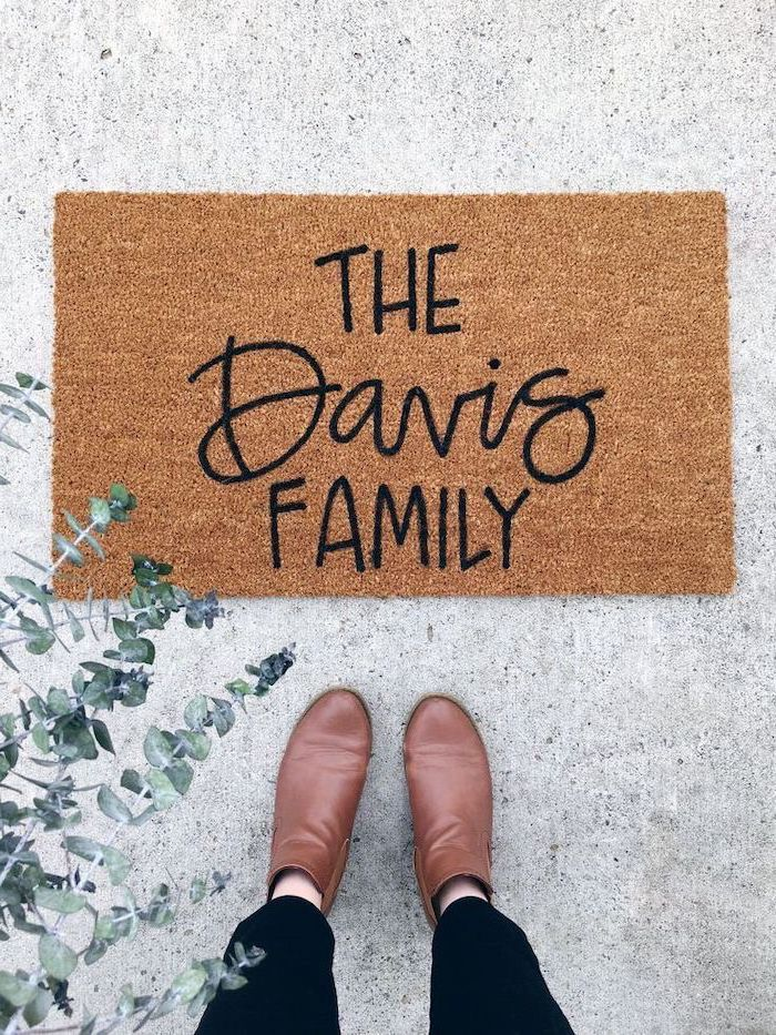 the davis family, door mat, funny housewarming gifts, brown leather boots