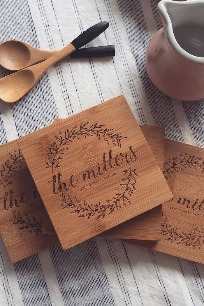 personalised cutting boards, the millers, housewarming ideas, wooden spatulas, white pitcher